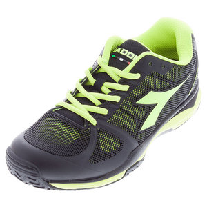 Men`s Speed Competition AG Tennis Shoes Black and Fluo Yellow