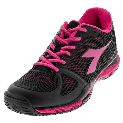 Women`s Speed Competition AG Tennis Shoes Black and Bright Rose