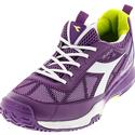DIADORA Women`s S Pro Evo II AG Tennis Shoes Violet Berry and White