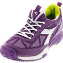 DIADORA Women`s S Pro Evo II AG Tennis Shoes Violet Berry and White