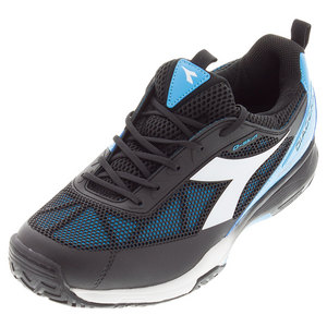 Men`s S Pro Evo II AG Tennis Shoes Black and Fluo Blue