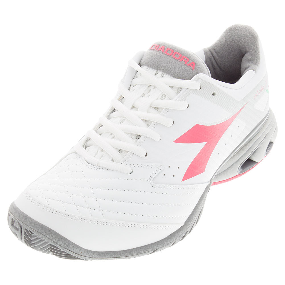 DIADORA Women`s S Star K IV AG Tennis Shoes White and Paradise Pink