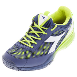 Men`s S Pro Evo II AG Tennis Shoes Estate Blue and Punch Lime