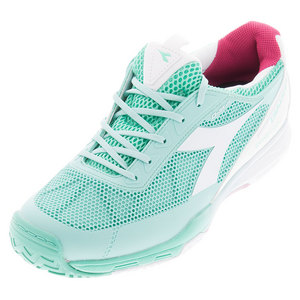 Women`s S Pro Evo II AG Tennis Shoes Cockatoo Green and White