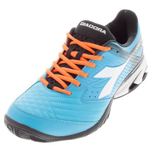 Men`s S Star K VII AG Tennis Shoes Fluo Blue and White