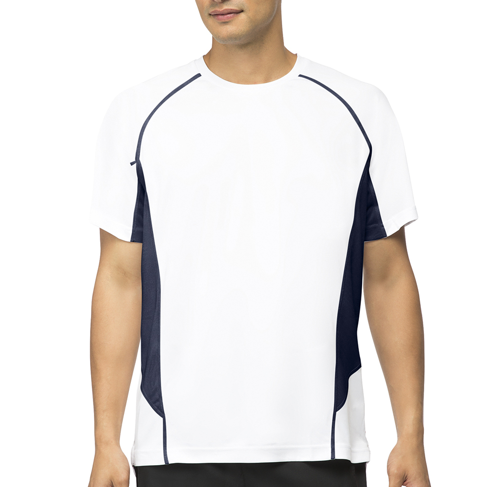 Men's Core Color Blocked Tennis Crew White And Peacoat