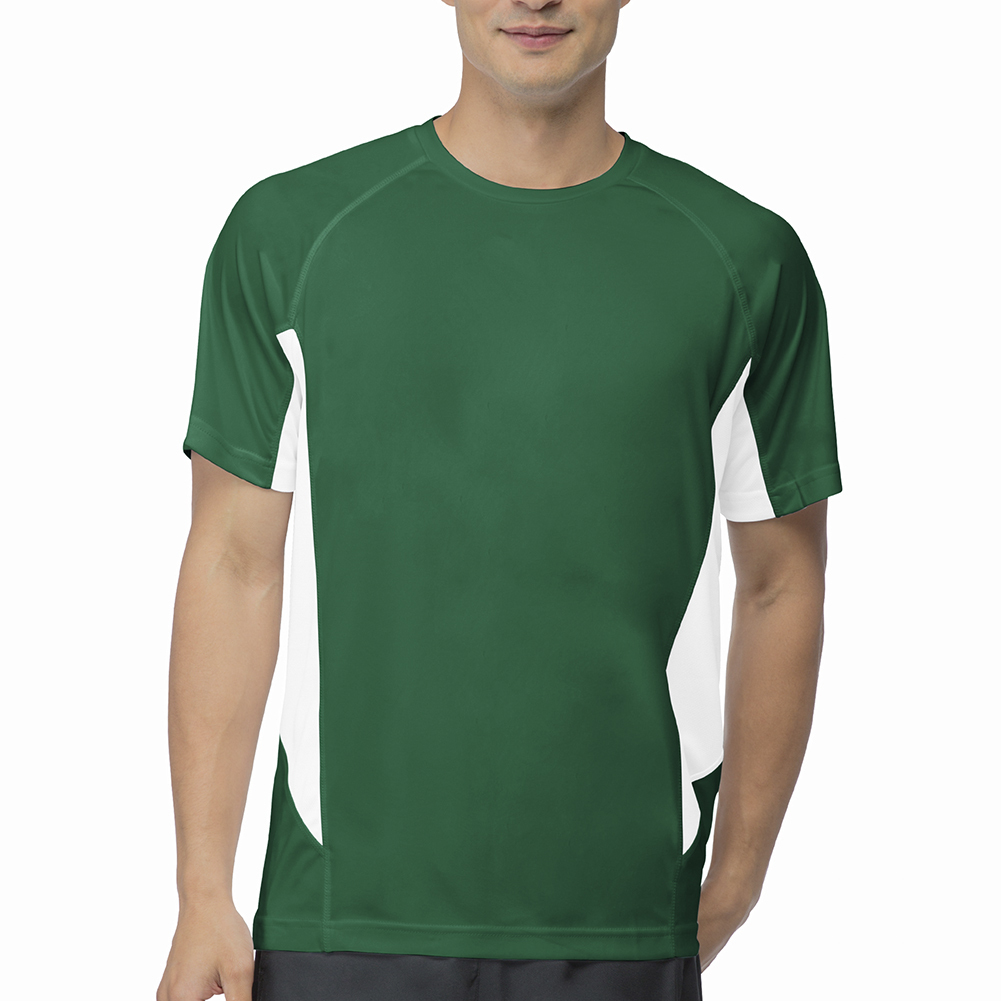 Men's Core Color Blocked Tennis Crew Team Forest Green