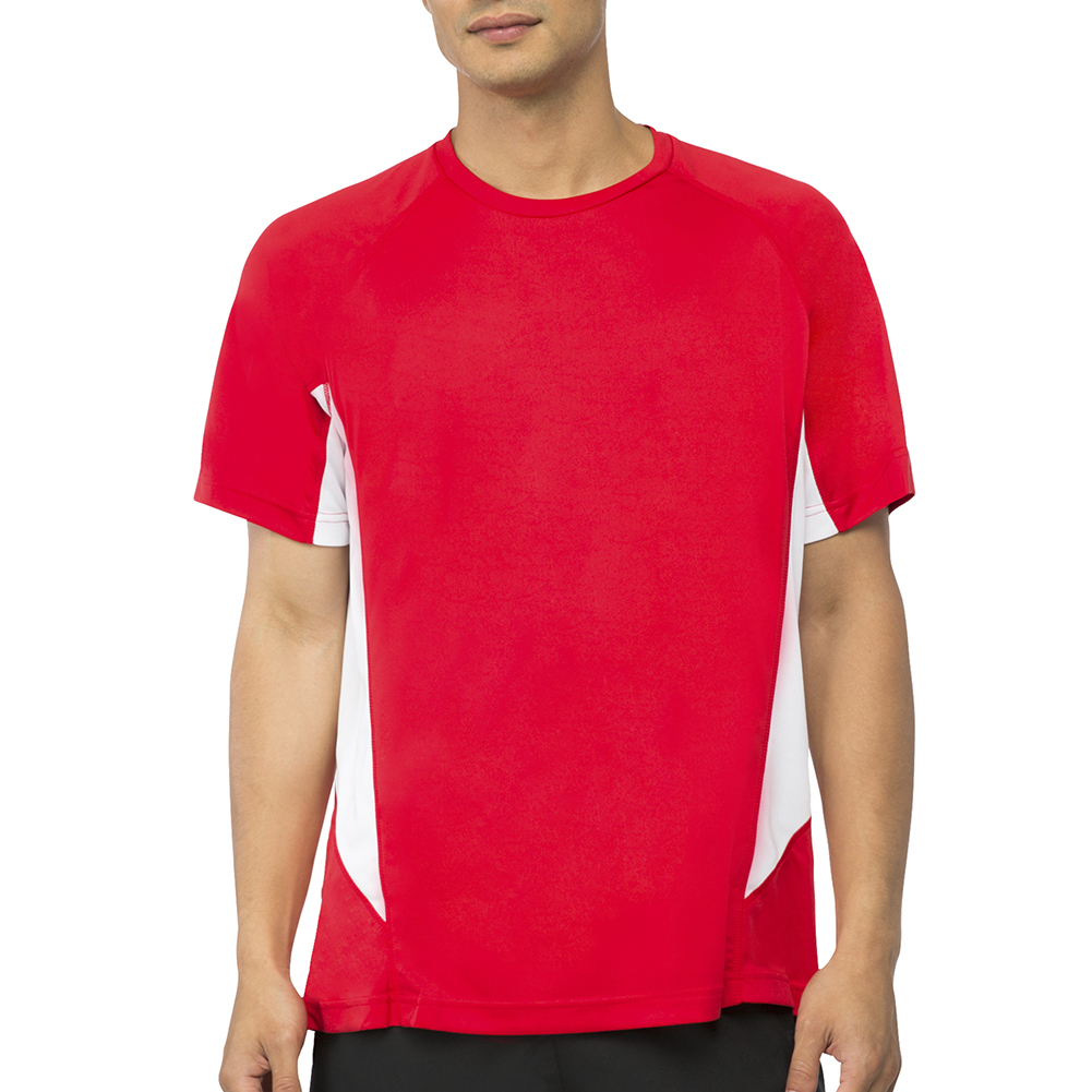 Men's Core Color Blocked Tennis Crew Crimson