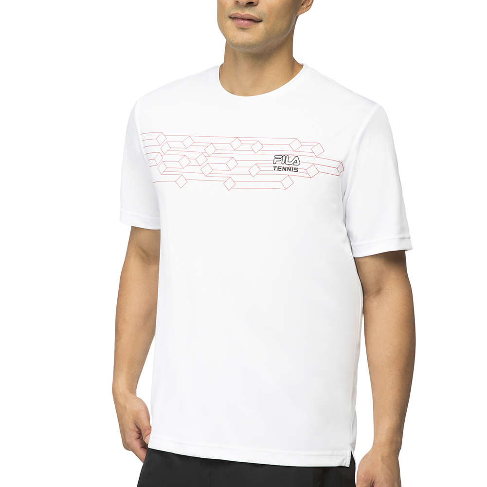 Men's Core Diamond Printed Tennis Crew White
