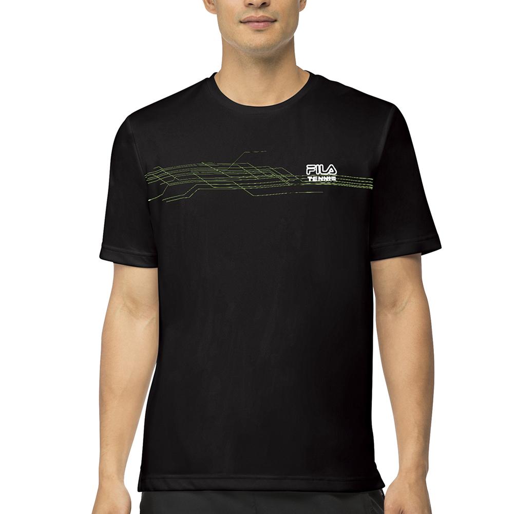 Men's Core Abstract Printed Tennis Crew Black