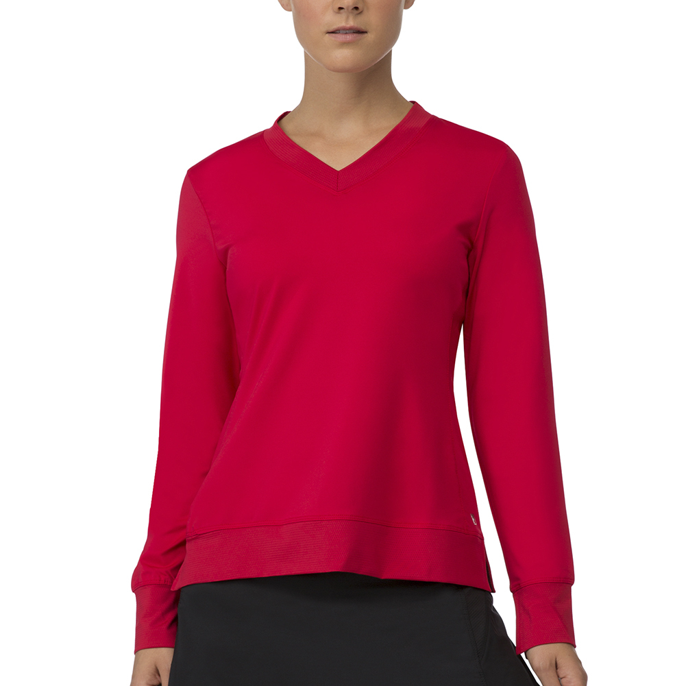 Women's Core Long Sleeve Tennis Top Crimson