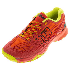 Men`s Kaos Tennis Shoes Tomato Red and Solar Lime