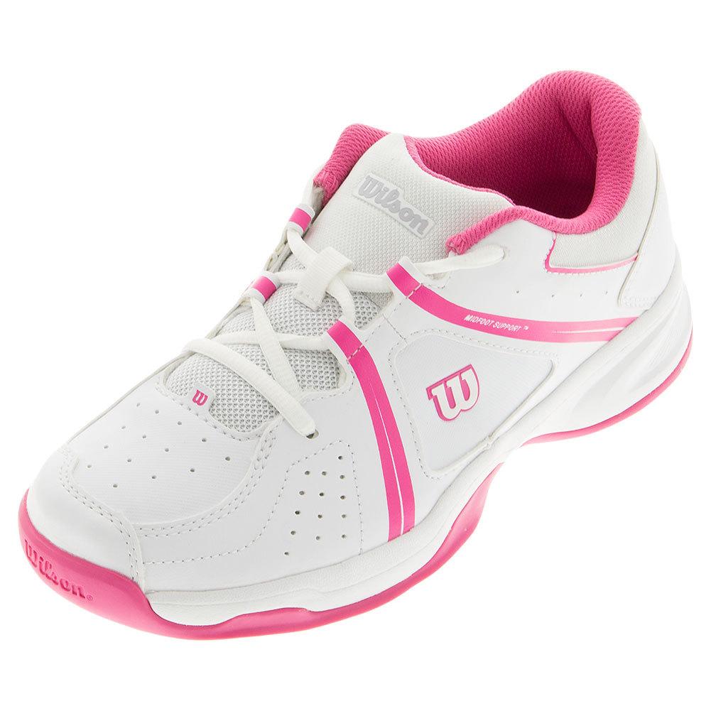 juniors envy tennis shoes white and fandango pink