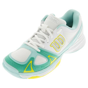Women`s Rush Evo Tennis Shoes White and Aruba Blue