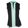 SOFIBELLA Women`s Essence Classic Sleeveless Tennis Top Black and Seaglass