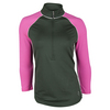 Women`s Jacquard Raglan Pullover Tennis Top Olive by JOFIT