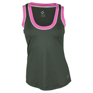 Women`s Jacquard Chaser Tennis Tank Olive