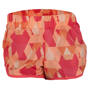 Women`s M10 Woven Graphic Short Shock Red and Sun Glow Print