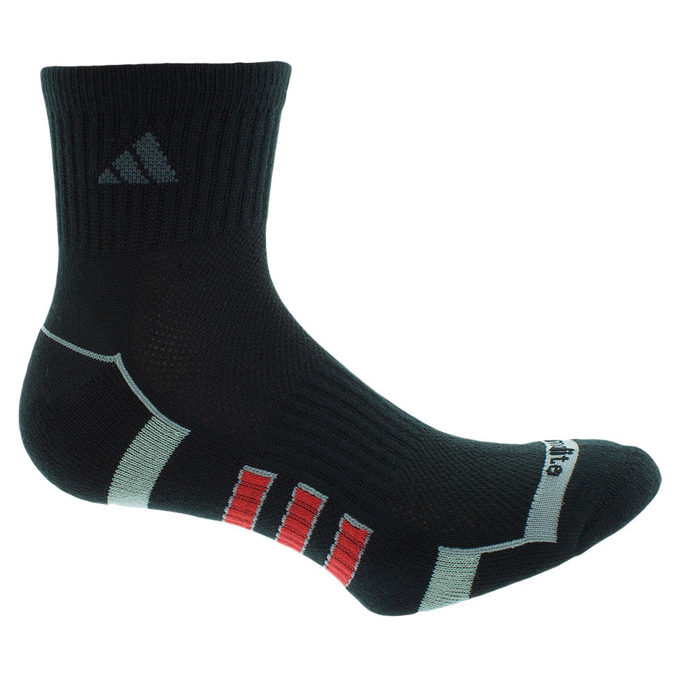 Men`s Climalite II Quarter 2 Pack Socks Black and Scarlet shoe sizes 6-12