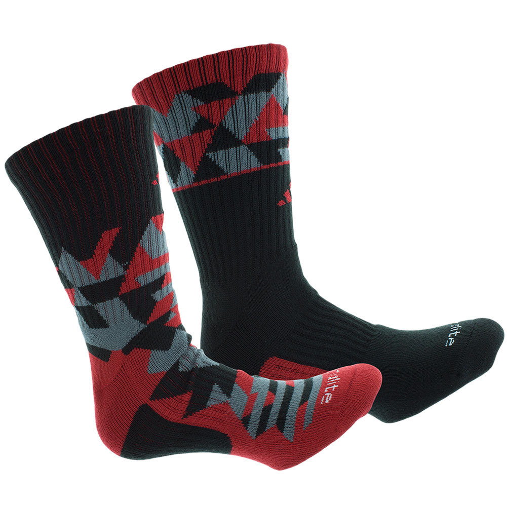 Men`s Energy Camo Crew Socks 2 Pack Black and Power Red shoe sizes 6-12