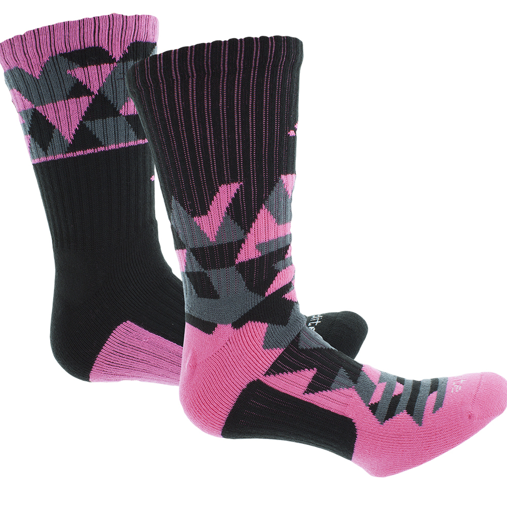 Men`s Energy Camo Crew Socks 2 Pack Solar Pink and Black shoe size 6-12