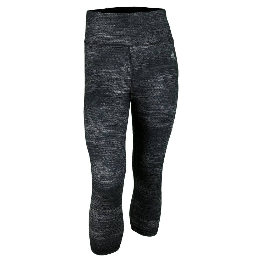 Women`s Performance Mid-Rise Three-Quarter Tight Black Macro Heather