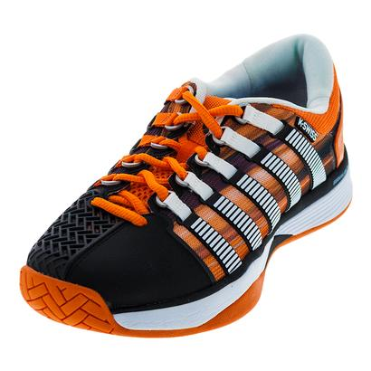 Men`s HyperCourt Tennis Shoes Black and Vibrant Orange