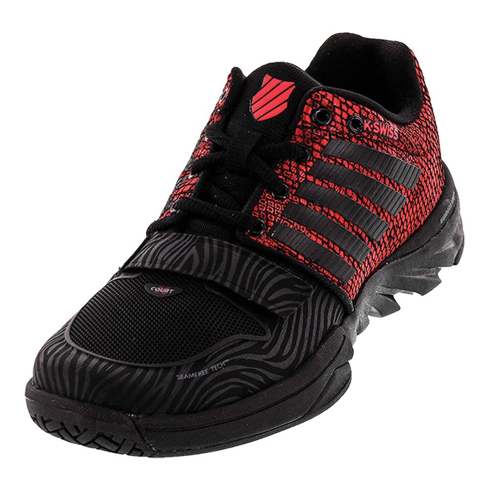 Women's X Court Tennis Shoes Black And Metallic Red