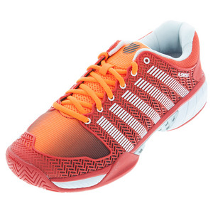 Men`s HyperCourt Express Tennis Shoes Safety Orange and Fiery Red