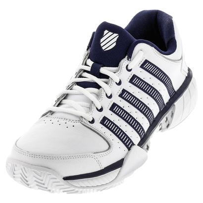 Men`s HyperCourt Express Leather Clay Tennis Shoes White and Navy