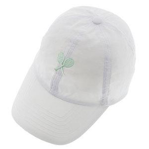 LITTLE MISS TENNIS GIRL TNS CAP WHITE W/PPRMNT RACQUETS