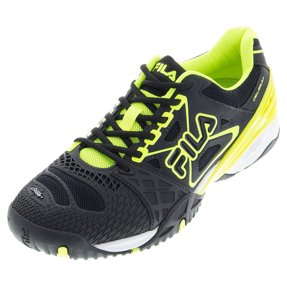 Men's Cage Delirium Tennis Shoes Black And Safety Yellow