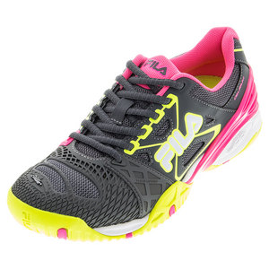 Women`s Cage Delirium Tennis Shoes Dark Shadow and Safety Yellow