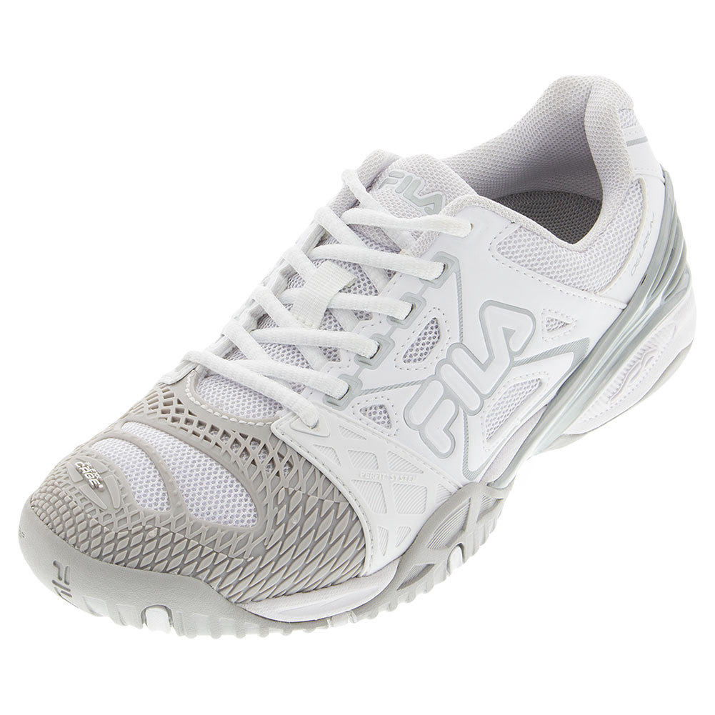 Women's Cage Delirium Tennis Shoes White And Metallic Silver