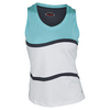 BOLLE Women`s Bayside Tennis Tank White and Aqua