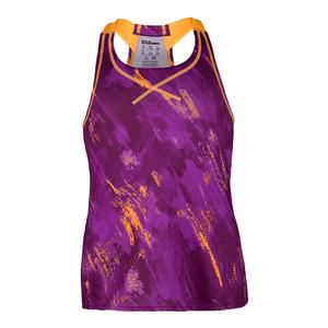 Girls` Painted Mesh Boyfriend Tennis Tank Dark Plumberry Print