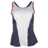 LUCKY IN LOVE Women`s High Neck Tennis Cami White and Concord