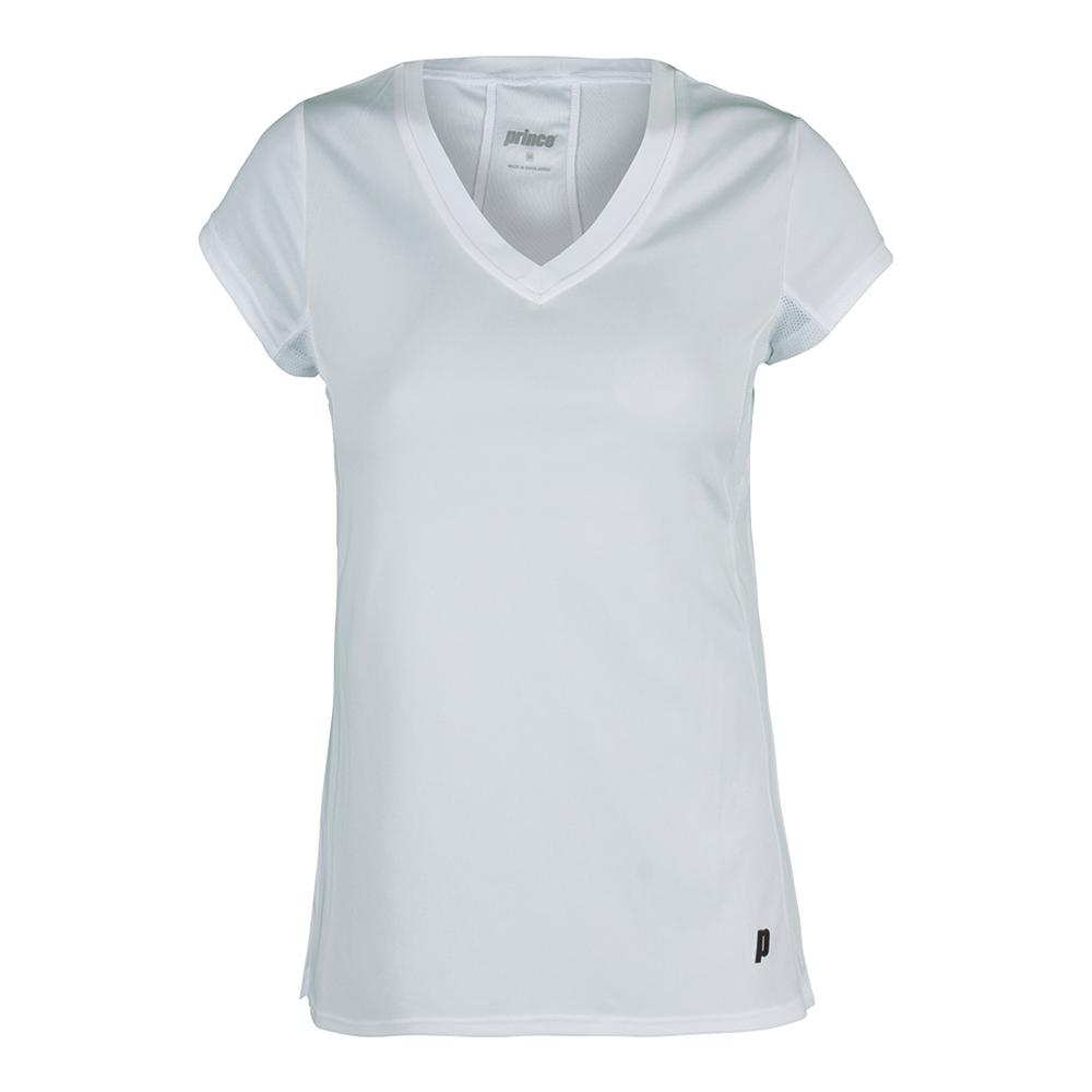 Women's Core V- Neck Cap Sleeve Tennis Top White