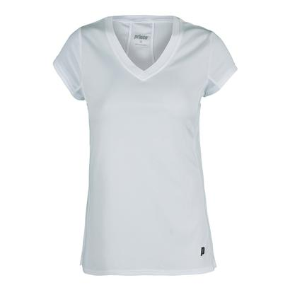 Women`s Core V-Neck Cap Sleeve Tennis Top White