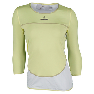 Women`s Stella McCartney 3/4 Sleeve Tennis Tee Fresh Yellow and White