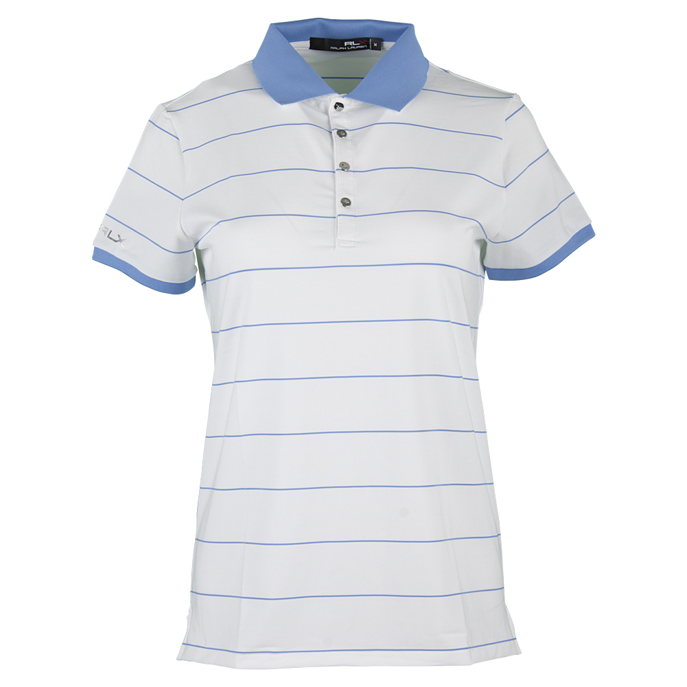 Women's Short Sleeve Stripe Polo Pure White And Gentry Blue