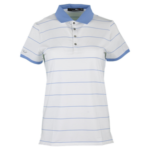 Women`s Short Sleeve Stripe Polo Pure White and Gentry Blue