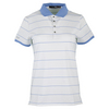 POLO RALPH LAUREN Women`s Short Sleeve Stripe Polo Pure White and Gentry Blue