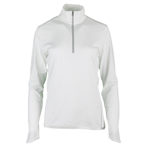 Women`s 1/2 Zip Mock Neck Top Pure White