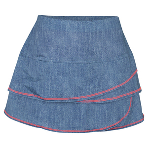 LUCKY IN LOVE GIRLS SCALLOP TENNIS SKORT CHAMBRAY