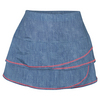 LUCKY IN LOVE Girls` Scallop Tennis Skort Chambray