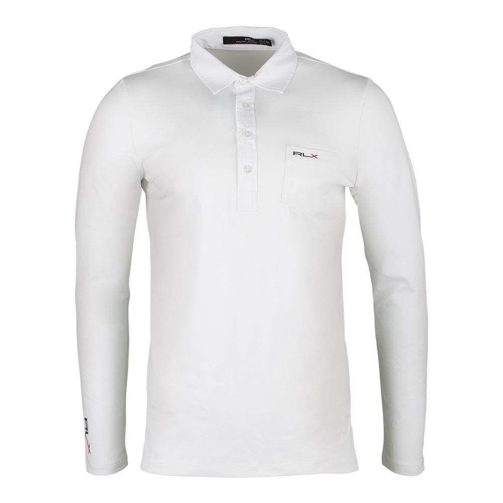 Men's Long Sleeve Tech Pique Polo White