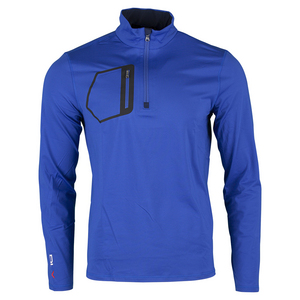 Men`s Brushed Back Tech Jersey 1/2 Zip Top Royal Blue