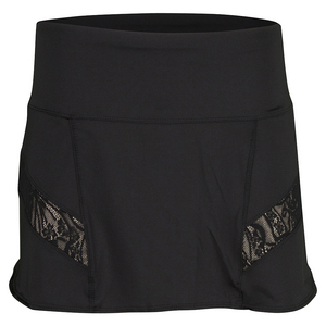 LUCKY IN LOVE WOMENS LACE RUNNING SKORT BLACK