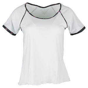 DENISE CRONWALL WOMENS VILLIA CAP SLEEVE TNS TOP WHITE